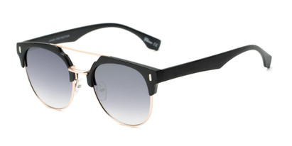 Angle of Austin #5104 in Black/Gold Frame with Smoke Lenses, Women's and Men's Round Sunglasses
