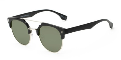 Angle of Austin #5104 in Black/Silver Frame with Green Lenses, Women's and Men's Round Sunglasses