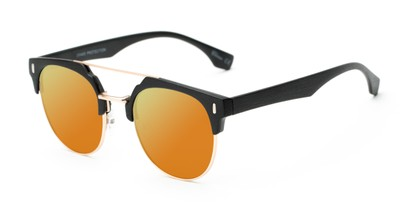 Angle of Austin #5104 in Black/Gold Frame with Yellow Mirrored Lenses, Women's and Men's Round Sunglasses