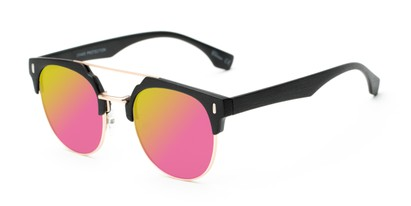 Angle of Austin #5104 in Black/Gold Frame with Pink/Yellow Mirrored Lenses, Women's and Men's Round Sunglasses