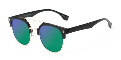 Angle of Austin #5104 in Black/Gold Frame with Green/Purple Mirrored Lenses, Women's and Men's Round Sunglasses