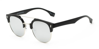 Angle of Austin #5104 in Black/Silver Frame with Silver Mirrored Lenses, Women's and Men's Round Sunglasses