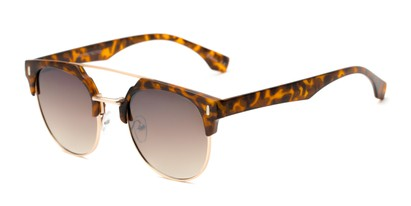 Angle of Austin #5104 in Tortoise/Gold Frame with Amber Lenses, Women's and Men's Round Sunglasses