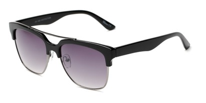 Angle of Carter #5135 in Black Frame with Smoke Lenses, Women's and Men's Browline Sunglasses