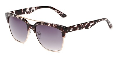 Angle of Carter #5135 in Brown/Clear Tortoise Frame with Smoke Lenses, Women's and Men's Browline Sunglasses