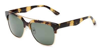 Angle of Carter #5135 in Yellow Tortoise Frame with Green Lenses, Women's and Men's Browline Sunglasses