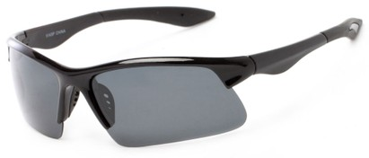 Angle of Marano #5143 in Glossy Black Frame with Grey Lenses, Women's and Men's Sport & Wrap-Around Sunglasses