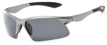 Angle of Marano #5143 in Grey Frame with Grey Lenses, Women's and Men's Sport & Wrap-Around Sunglasses