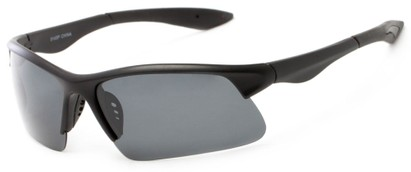 Angle of Marano #5143 in Matte Black Frame with Grey Lenses, Women's and Men's Sport & Wrap-Around Sunglasses