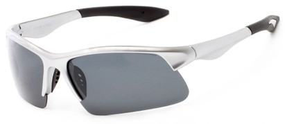 Angle of Marano #5143 in Silver Frame with Grey Lenses, Women's and Men's Sport & Wrap-Around Sunglasses