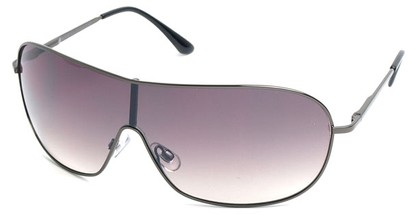 Angle of SW Shield Style #46 in Grey Frame with Grey Lenses, Women's and Men's