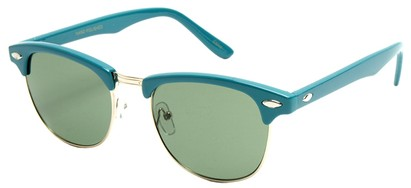 Angle of Midway #1603 in Teal Frame, Women's and Men's Browline Sunglasses
