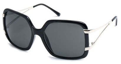 Angle of SW Oversized Style #238 in Black and Silver Frame, Women's and Men's