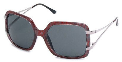 Angle of SW Oversized Style #238 in Red Striped Frame, Women's and Men's