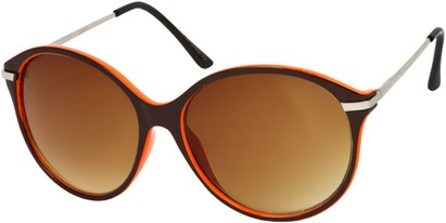 Angle of SW Oversized Retro Style #1628 in Brown/Orange Frame, Women's and Men's