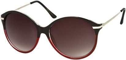 Angle of SW Oversized Retro Style #1628 in Black/Red Frame, Women's and Men's