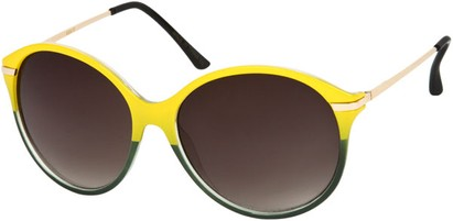 Angle of SW Oversized Retro Style #1628 in Yellow/Green Frame, Women's and Men's