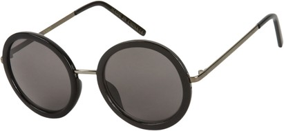 Angle of SW Round Style #5582 in Grey/Black Frame with Smoke Lenses, Women's and Men's