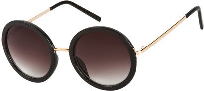 Angle of SW Round Style #5582 in Gold/Black Frame with Smoke Lenses, Women's and Men's