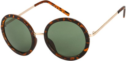Angle of SW Round Style #5582 in Gold/Brown Tortoise Frame with Green Lenses, Women's and Men's