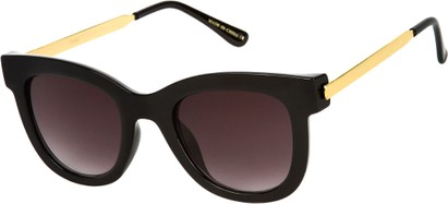 Angle of SW Retro Style #527 in Glossy Black/Gold Frame with Smoke Lenses, Women's and Men's