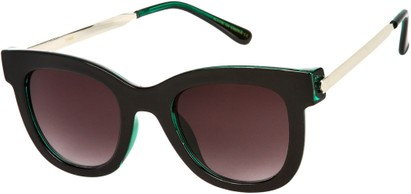 Angle of SW Retro Style #527 in Glossy Black & Green/Silver Frame with Smoke Lenses, Women's and Men's