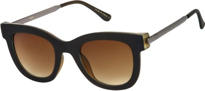 Angle of SW Retro Style #527 in Matte Black/Grey Frame with Amber Lenses, Women's and Men's
