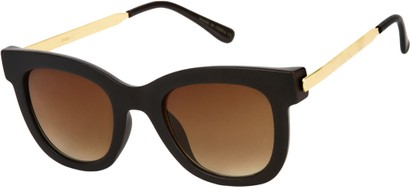 Angle of SW Retro Style #527 in Matte Black/Gold Frame with Amber Lenses, Women's and Men's