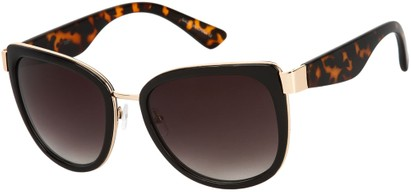 Angle of SW Oversized Style #5381 in Black/Gold and Tortoise Temples with Grey Lenses, Women's and Men's