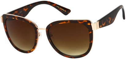 Angle of SW Oversized Style #5381 in Tortoise/Gold with Amber Lenses, Women's and Men's