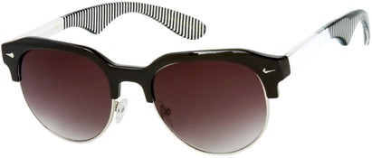Angle of SW Retro Style #559 in Black/White Frame with Smoke Lenses, Men's Select... Select...
