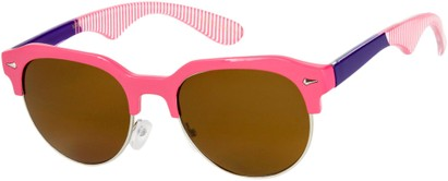 Angle of SW Retro Style #559 in Pink/Purple Frame with Amber Lenses, Men's Select... Select...