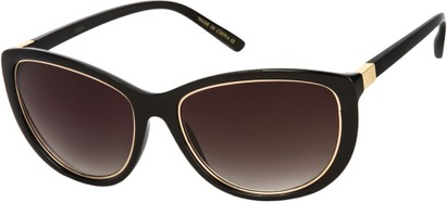 Angle of SW Cat Eye Style #1222 in Black/Gold Frame with Smoke Lenses, Women's and Men's