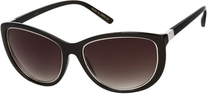 Angle of SW Cat Eye Style #1222 in Black/Silver Frame with Smoke Lenses, Women's and Men's