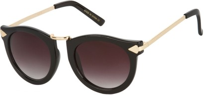 Angle of SW Round Retro Style #804 in Black/Gold Frame with Smoke Lenses, Women's and Men's