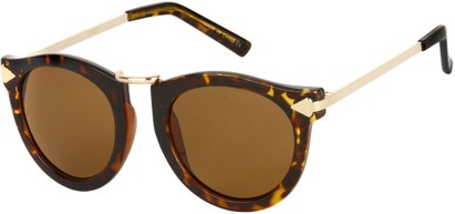 Angle of SW Round Retro Style #804 in Tortoise/Gold Frame with Amber Lenses, Women's and Men's