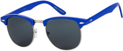 Angle of SW Retro Style #1360 in Cobalt Blue/Silver Frame with Blue Lenses, Men's Select... Select...
