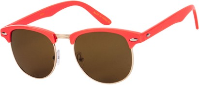 Angle of SW Retro Style #1360 in Coral Pink/Gold Frame with Amber Lenses, Men's Select... Select...
