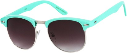 Angle of SW Retro Style #1360 in Mint Green/Silver Frame with Smoke Lenses, Men's Select... Select...