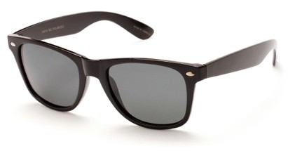 Angle of SW Retro Polarized Style #5401 in Glossy Black Frame with Smoke Lenses, Women's and Men's