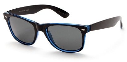 Angle of SW Retro Polarized Style #5401 in Glossy Black/Blue Frame with Smoke Lenses, Women's and Men's