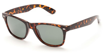 Angle of SW Retro Polarized Style #5401 in Glossy Tortoise Frame with Green Lenses, Women's and Men's