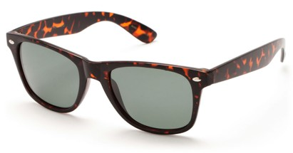 Angle of SW Retro Polarized Style #5401 in Matte Tortoise Frame with Green Lenses, Women's and Men's