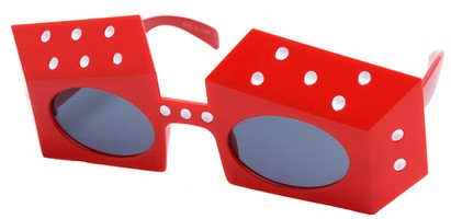 Angle of SW Novelty Sunglasses #540283 in Red Frame, Women's and Men's