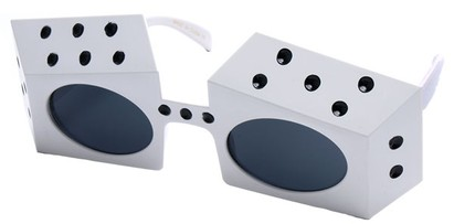 Angle of SW Novelty Sunglasses #540283 in White and Black Frame, Women's and Men's