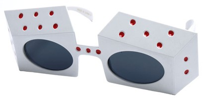 Angle of SW Novelty Sunglasses #540283 in White and Red Frame, Women's and Men's