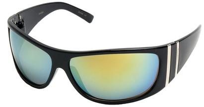 Angle of SW Sport Style #5402 in Black Frame with Yellow Mirrored Lenses, Women's and Men's