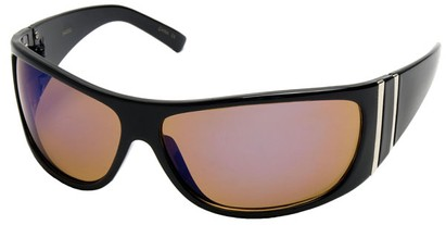 Angle of SW Sport Style #5402 in Black Frame with Amber/Blue Mirrored Lenses, Women's and Men's