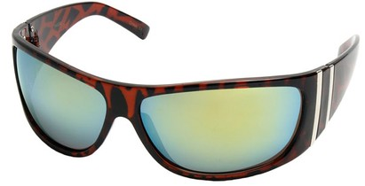 Angle of SW Sport Style #5402 in Tortoise Frame with Yellow Mirrored Lenses, Women's and Men's