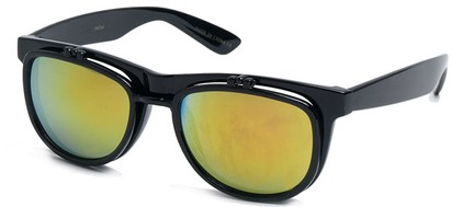 Angle of SW Flip-Up Style #1411 in Black Frame with Yellow Lenses, Women's and Men's